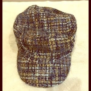 Violet grey and beige tweed cap, OS. NWOT